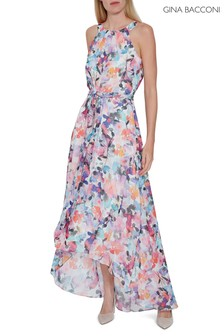 Gina Bacconi Pink Rafia Belted Maxi Dress