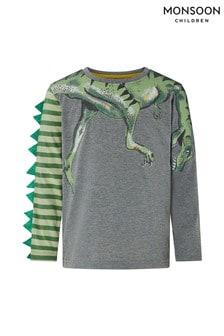 Monsoon Grey Deano Dino Long Sleeve T-Shirt