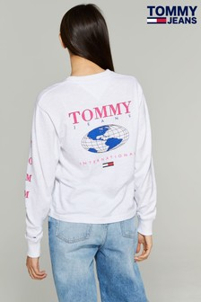 Tommy Jeans White Globe Long Sleeve T-Shirt