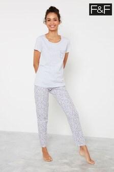 F&F Grey Leopard Print Pyjamas