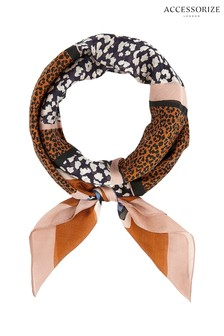 Accessorize Animal Spliced Leopard And Stripe Silk Square Scarf