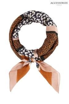 Accessorize Animal Spliced Leopard And Stripe Silk Square Scarf