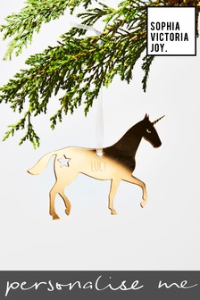 Personalised Unicorn Christmas Decoration by Sophia Victoria Joy