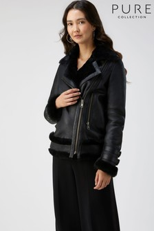 Pure Collection Black Shearling Biker Jacket