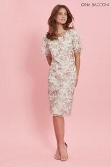 Gina Bacconi Cream Coletta Embroidered Shift Dress