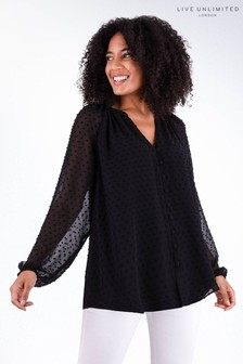 Live Unlimited Black Dobby Blouse With Frill Sleeve