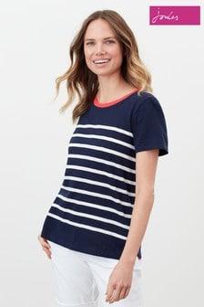 Joules Blue Carley Stripe Classic Crew T-Shirt