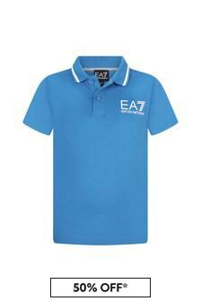 EA7 Emporio Armani Boys Blue Cotton Polo Top