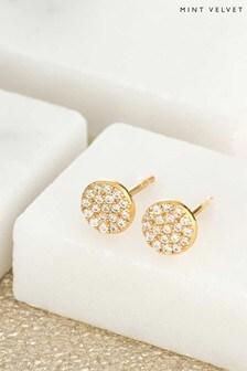 Mint Velvet Gold Plated Circle Stud Earrings