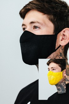 Hype. Adult Black/Yellow Knit Face Coverings Two Pack