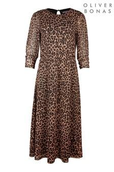 Oliver Bonas Animal Print Mesh Midi Dress