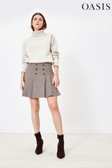 Oasis Brown Micro Check Kilt Skirt