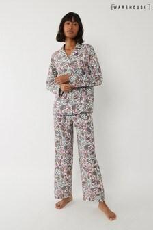 Warehouse Black Paisley Pyjama Bottoms