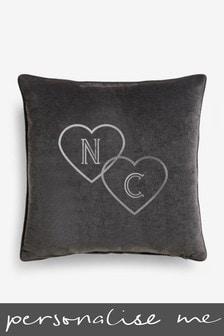 Personalised Grey Velour Cushion
