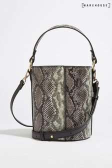 Warehouse Brown Snake Print Bucket Bag