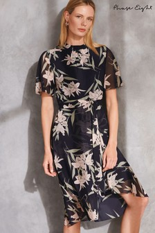 Phase Eight Navy Gracen Palm Print Dress