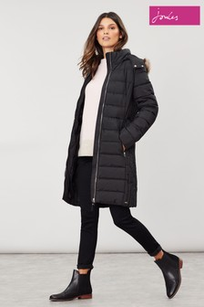 Joules Black Holmbury Long Padded Coat With Elasticated Belt