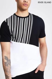 River Island Black Slim Dogtooth Asymmetric Block T-Shirt