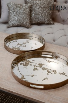 Set of 2 Libra Vienna Antique Gold Blossom Trays