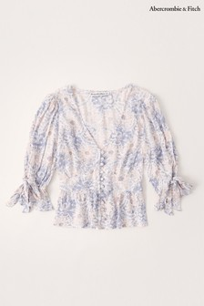 Abercrombie & Fitch White Long Sleeve Peasant Blouse