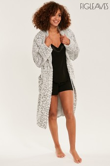 Figleaves Grey Leopard Embossed Robe
