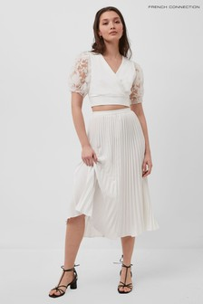 French Connection White Crepe Light Pleated Midi Skirt