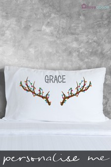 Personalised Antler Pillowcase by Loveabode
