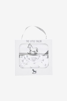 The Little Tailor White Jersey Sleepsuit & Bib Gift Set