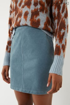Warehouse Blue Cord Mini Skirt