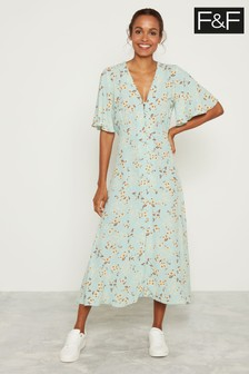 F&F Mint Daisy Print Midi Shirt Dress