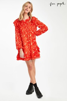 Free People Orange These Dreams Mini Dress