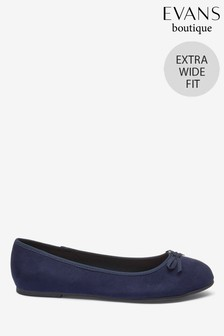 Evans Navy Extra Wide Fit Bow Ballerinas