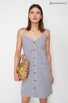 Warehouse Black Seersucker Mini Cami Dress