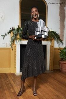 Phase Eight Black Clairette Asymmetric Sparkle Dress