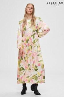 Selected Femme Rosebloom Floral Satin Midi Dress