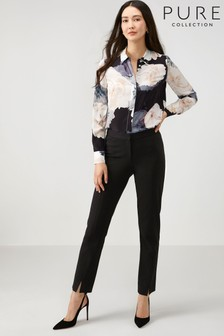 Pure Collection Black Ponte Split Hem Trousers