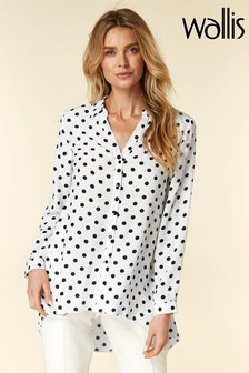 Wallis Black Mono Spot Hi Low Hem Shirt