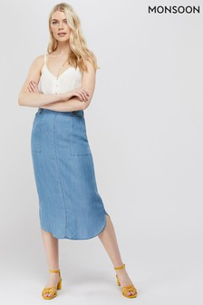 Monsoon Ladies Denim Blue Taya Tencel Skirt