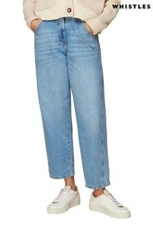 Whistles Light Wash Seam Detail Straight Leg Jeans