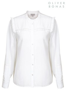 Oliver Bonas White Button Through Top
