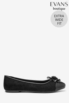 Evans Black Extra Wide Fit Flower Trim Ballerina Shoes