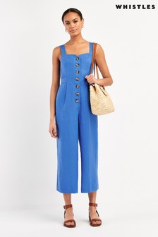 Whistles Blue Hadley Linen Jumpsuit