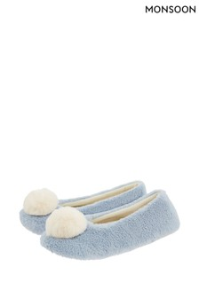 Monsoon Blue Isabella Faux Fur Ballerina Slippers