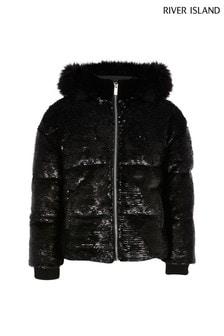 Черная дутая куртка с отделкойRiver Island