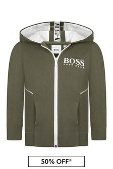 Boss Kidswear Boys Green Cotton Zip Up Hoodie