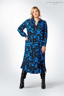 Live Unlimited Blue Cobalt Floral Ruffle Hem Dress