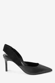 Кожаные туфли с ремешком на пятке