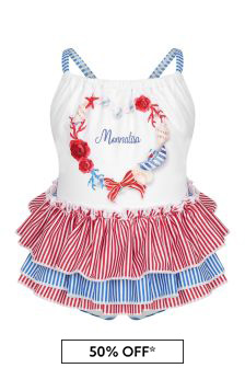 Monnalisa Baby Girls White Swimsuit