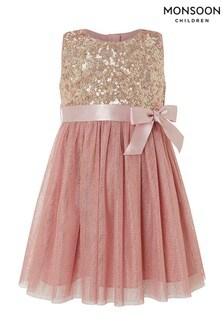 Monsoon Children Pink Baby Truth Foil Spot Dress