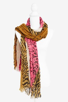 Animal Print Mixed Scarf